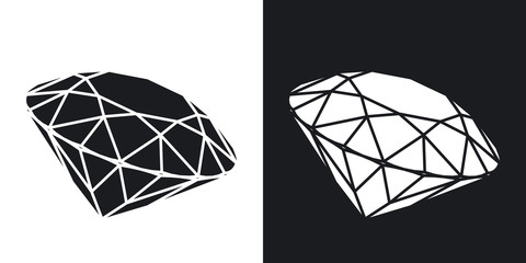 Vector diamond icon. Two-tone version on black and white background