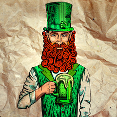 Irish leprechaun with mug of beer on paper