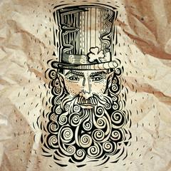 Leprechaun engraving, paper printing