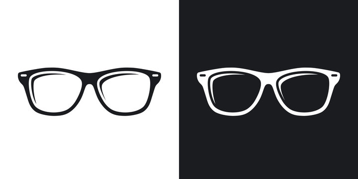 Vector Glasses icon. Two-tone version of Glasses simple icon on black and white background