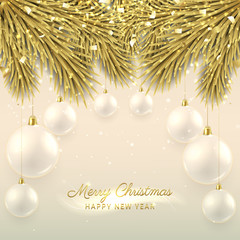 Elegant Christmas illustration with glass balls. Elegant vector background with fir-tree branches. Happy New Year banner with golden confetti and shining lights.