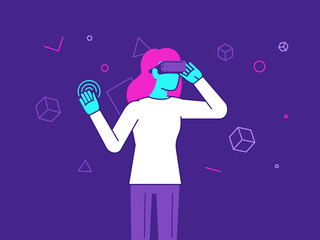 Vector illustration in modern flat style - girl wearing VR heads