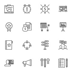 Set Of Project Management Icons On Best Solution, Decision Making, Quality Management And More. Premium Quality EPS10 Vector Illustration For Mobile, App, UI Design.
