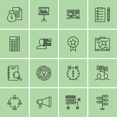 Set Of Project Management Icons On Creativity, Research, Workspace And More. Premium Quality EPS10 Vector Illustration For Mobile, App, UI Design.