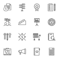 Set Of Project Management Icons On Money Revenue, Cash Flow, Promotion And More. Premium Quality EPS10 Vector Illustration For Mobile, App, UI Design.