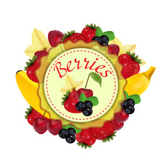 Berries and fruit. Label. Vector