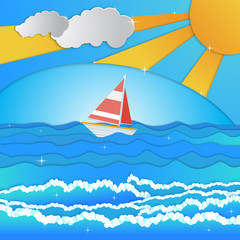 Sailing boat, cloud with bright summer sun .Paper cut style.