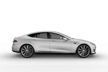 Electric Car background on white with soft shadows. 3D render