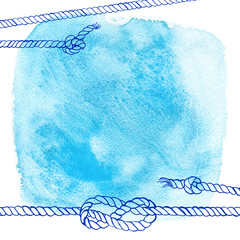 Watercolor abstract background in marine style. Drawing the line on the spot of blue paint. Ropes, knots, spray paint