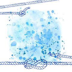 Watercolor abstract background in marine style. Drawing the line on the spot of blue paint. Ropes, knots, spray paint,
