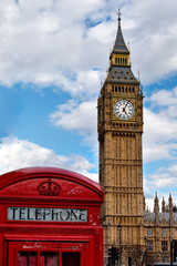 Red phone booth and Big Ben, two famous symbols of London, UK