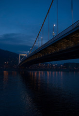 Elisabeth bridge across the Danube river after sunset, Budapest, Hungary