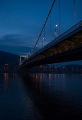 Elisabeth bridge across the Danube river after sunset, Budapest, Hungary