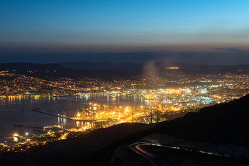 Bay of Novorossiysk just after sunset, Russia