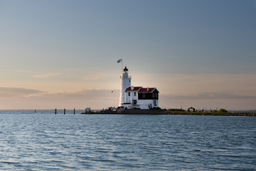 White Horse lighthouse of Marken at sunrise, The Netherlands