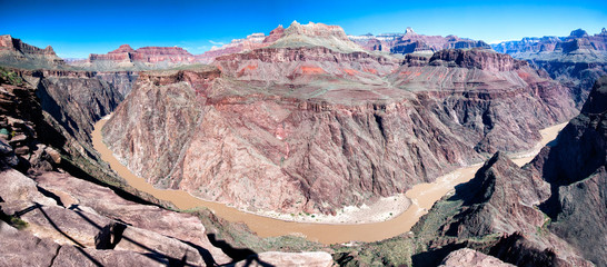 Panorama of the Colorado river flowing through the Grand Canyon, Arizona, USA