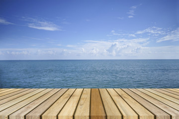 Empty top wooden decking and beautiful peace sea in background,rest moment,time to rest,chill out