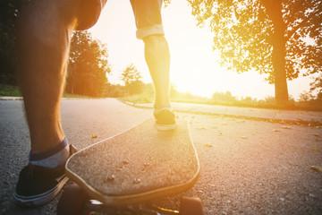 Skateboarding at sunrise park