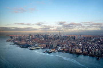Manhattan, Hudson River and Financial disctrict from a helicopter