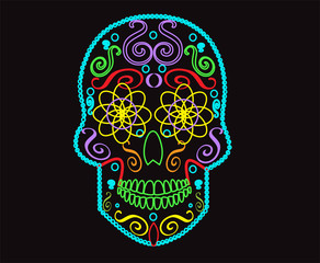 Skull vector background for fashion design, patterns, tattoos neon colors