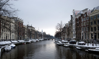 Canal of Amsterdam in winter, The Netherlands