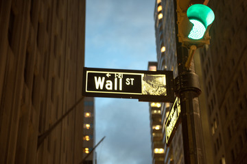 Direction to Wallstreet at night in the Financial District, Manhattan, New York