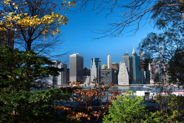 Financial district of Manhattan seen from Brooklyn, New York, USA