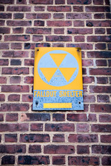 Fallout Shelter sign indicating a bunker protecting from a nuclear bomb, dating from the cold war