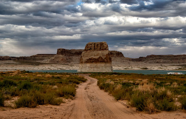 Path leading to a lonely rock in Lake Powell, Page, Arizona, USA
