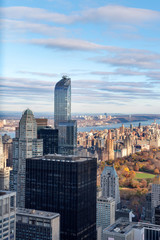 View on central park and skyline of Manhattan, New York, USA
