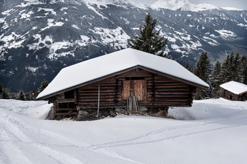 Wooden shed on the slopes of a snowy mountain in the Zillertal, Austria