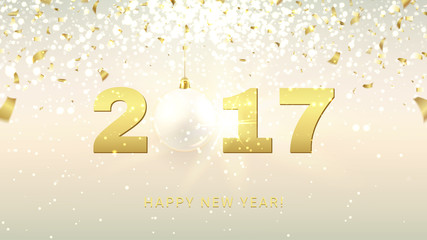 Elegant Happy New Year gift card. Vector background with glass ball and sparks. Web banner with golden confetti and shining lights.