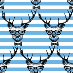 Fototapete - Seamless with hand drawn dressed up deer