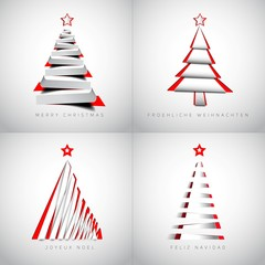 Merry Christmas holiday greeting design set with xmas trees in p