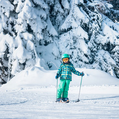 Winter skiing child