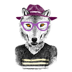 Fototapete - hand drawn wolf hipster
