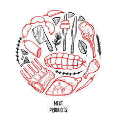 Hand drawn vector illustration - Meat products