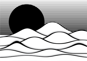 Wall Mural - Op art abstract landscape black and white vector illustration