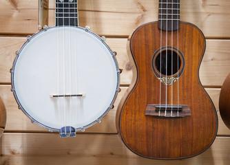 Banjo and ukulele close up