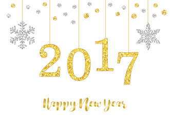 Cute Happy New Year with glamour golden glitter number 2017