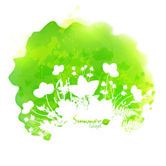 Green summer vector watercolor stain with white foliage silhouette