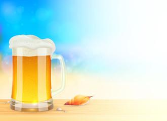 Mug of light beer on summer sea blurred background, vector illustration