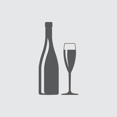 Champagne or wine bottle and glass silhouette. Vector icon or sign.
