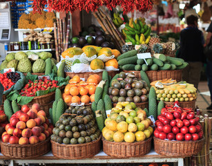 Fresh exotic fruits on famous market in Funchal (Mercado dos Lavradores), Madeira island, Portugal