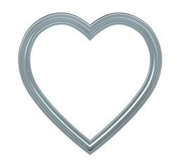 Titanium heart picture frame isolated on white. 3D illustration.