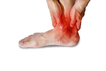 ankle pain in men. Pain concept