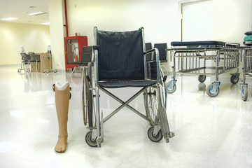 wheelchair and prostheses in hospital