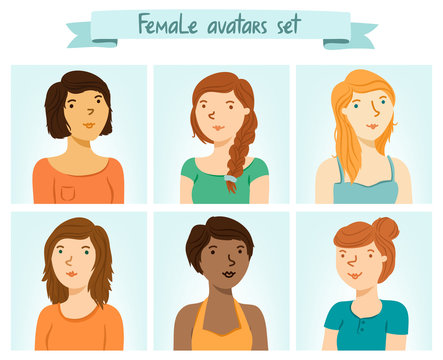 Set of 6 female characters avatars.
