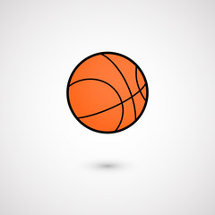 Orange basket ball icon. Isolated on white background. Vector illustration, eps 10.