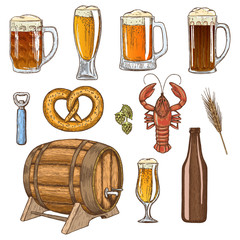 Set of beer glasses, bottle and snack icons. Vector stock illustration.